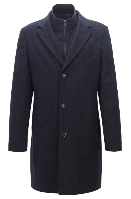 Wool-cashmere coat with removable inner jacket, Dark Blue