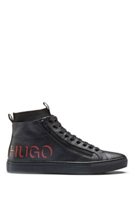 High-top sneakers in leather with 3D-style logo, Black