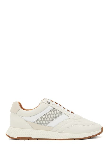 Mixed-leather sneakers with injected monogram motif, White