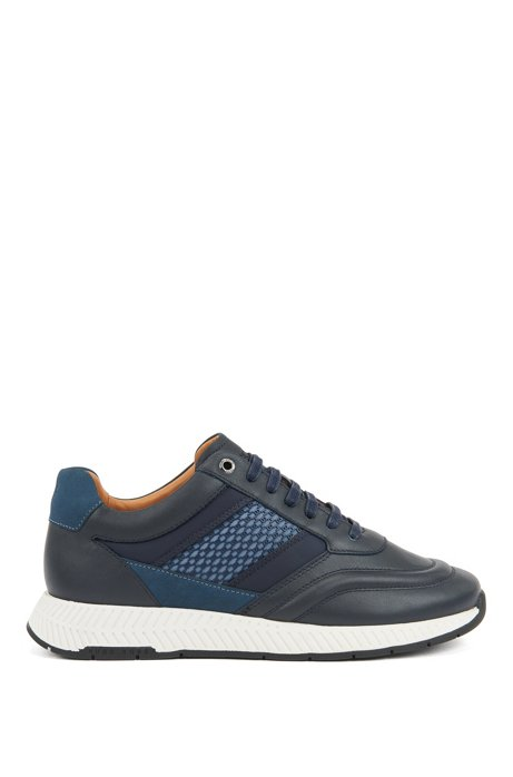 Mixed-leather sneakers with injected monogram motif, Dark Blue