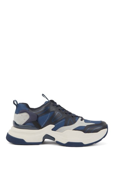 Chunky running sneakers in leather and Cordura®, Open Blue