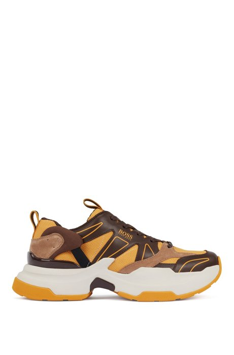Chunky running sneakers in leather and Cordura®, Open Yellow