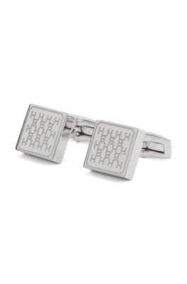 German-made square cufflinks with diagonally etched monogram, Silver