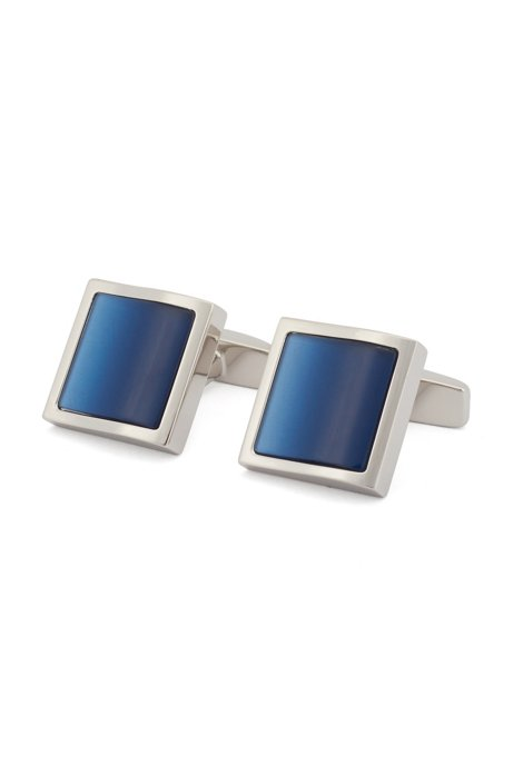 Square cufflinks with wavy enamel insert, Dark Blue