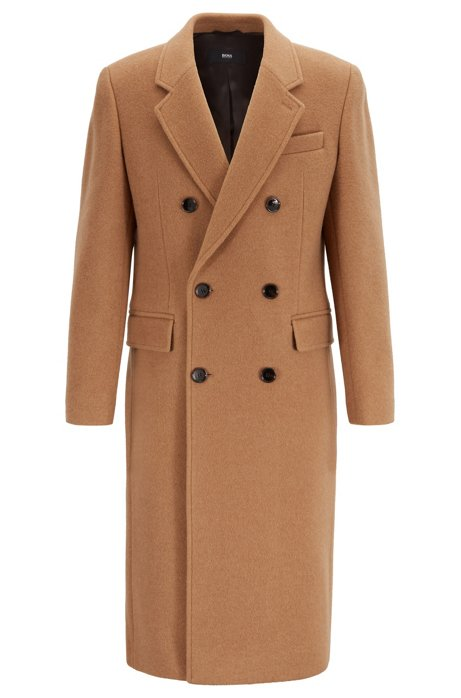 Long slim-fit double-breasted coat in a camel-hair blend, Beige