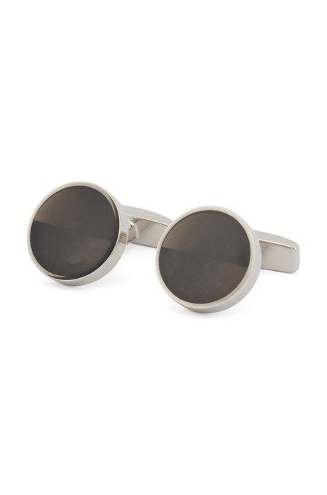 Round cufflinks in brass with oblique enamel inserts, Grey