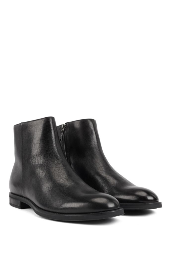 Italian-made zipped ankle boots with shearling lining