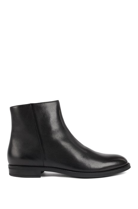 Italian-made zipped ankle boots with shearling lining, Black