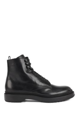 Lace-up boots in leather with shearling lining, Black