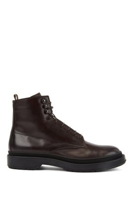Lace-up boots in leather with shearling lining, Dark Brown