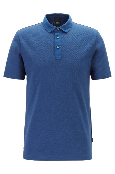 Slim-fit polo shirt in stretch-cotton jacquard, Dark Blue