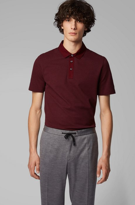 Slim-fit polo shirt in stretch-cotton jacquard, Dark Red