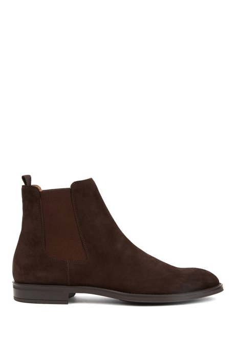 Italian-made Chelsea boots in calf suede, Dark Brown