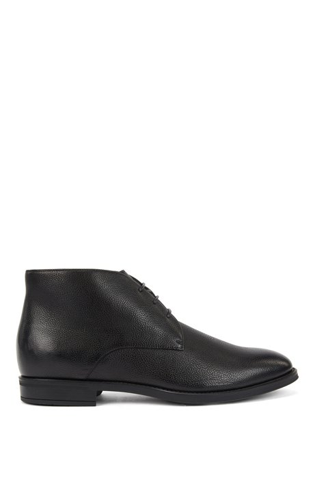 Italian-made desert boots in leather with shearling lining, Black