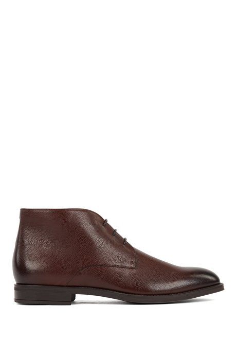 Italian-made desert boots in leather with shearling lining, Dark Brown
