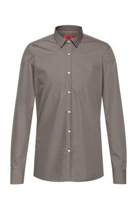 Extra-slim-fit shirt in cotton poplin, Light Brown