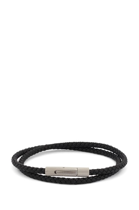 Italian-made double-wrap cuff in braided calf leather, Black