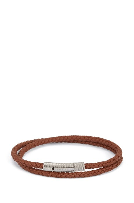 Italian-made double-wrap cuff in braided calf leather, Brown