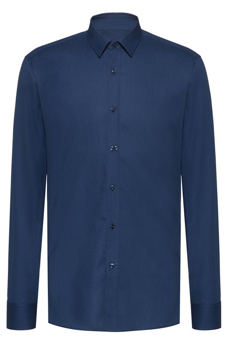 Extra-slim-fit shirt in structured Egyptian cotton, Blue