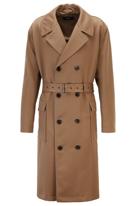 Relaxed-fit double-breasted coat in virgin-wool twill, Khaki