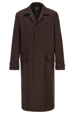 Relaxed-fit water-repellent coat in virgin wool, Dark Brown