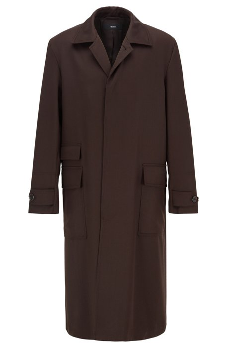 Relaxed-fit water-repellent coat in virgin wool, Dark Brown