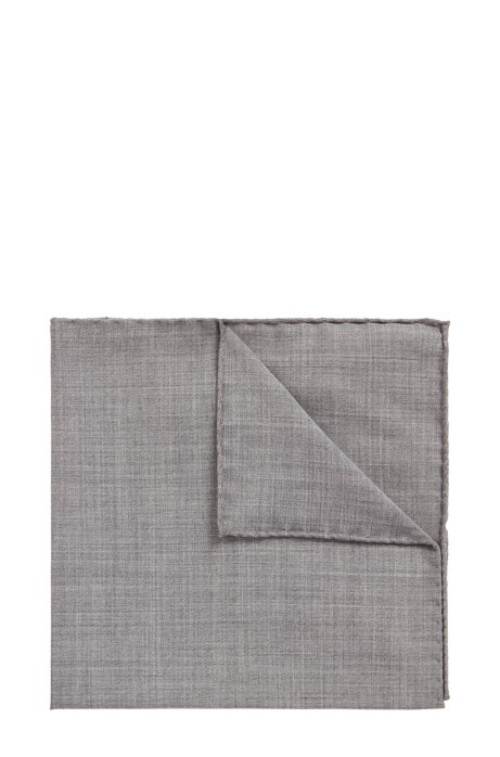 Pocket square in traceable Merino wool, Open Grey