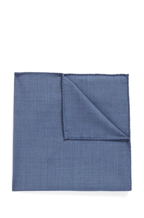 Pocket square in traceable Merino wool, Open Blue