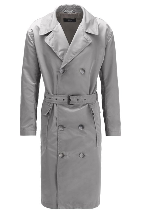 Relaxed-fit coat in water-repellent fabric with belt, Silver