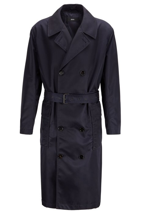 Relaxed-fit coat in water-repellent fabric with belt, Dark Blue