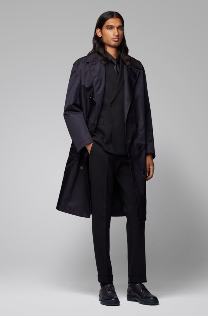 Relaxed-fit coat in water-repellent fabric with belt