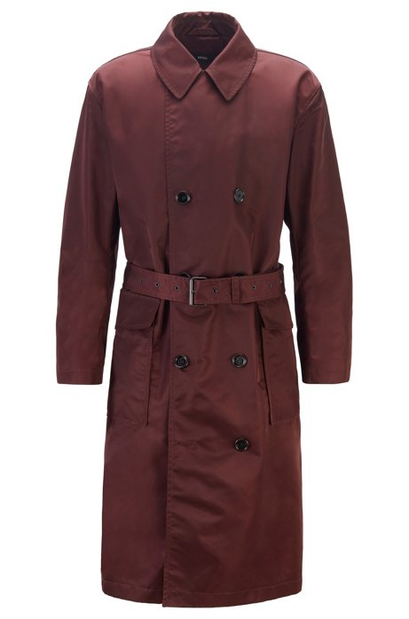 Relaxed-fit coat in water-repellent fabric with belt, Dark Red