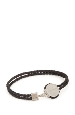 Double-braided leather cuff with logo-engraved metal plate, Black