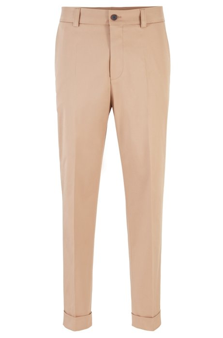 Relaxed-fit cropped pants in stretch-cotton gabardine, Beige