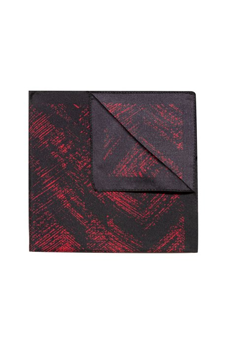 Printed pocket square in silk twill, Open Pink