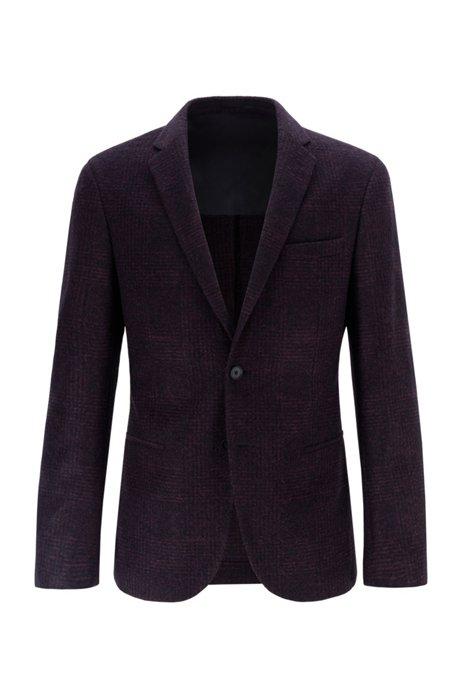 Slim-fit jacketin checked jersey with stretch lining, Dark Red
