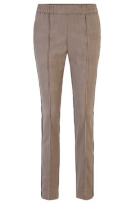 Hugo Boss Relaxed-fit Jogging-inspired Pants With Side Stripes In Patterned