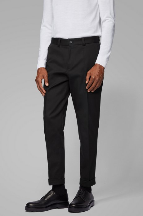 Relaxed-fit trousers with cropped length in stretch cotton, Black