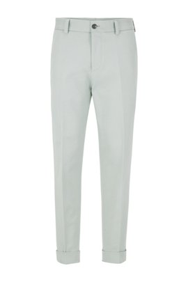 Relaxed-fit trousers with cropped length in stretch cotton, Light Green