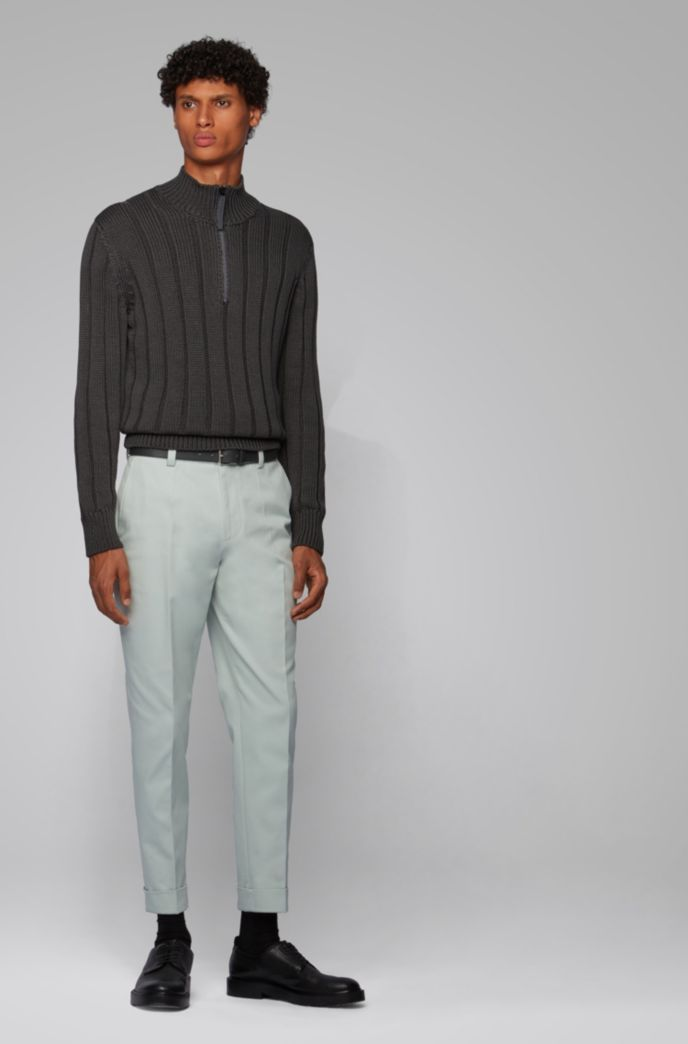 Relaxed-fit trousers with cropped length in stretch cotton