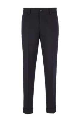 Relaxed-fit trousers with cropped length in stretch cotton, Dark Blue