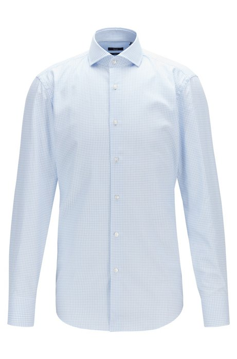 Slim-fit shirt in Vichy-check cotton twill, Light Blue