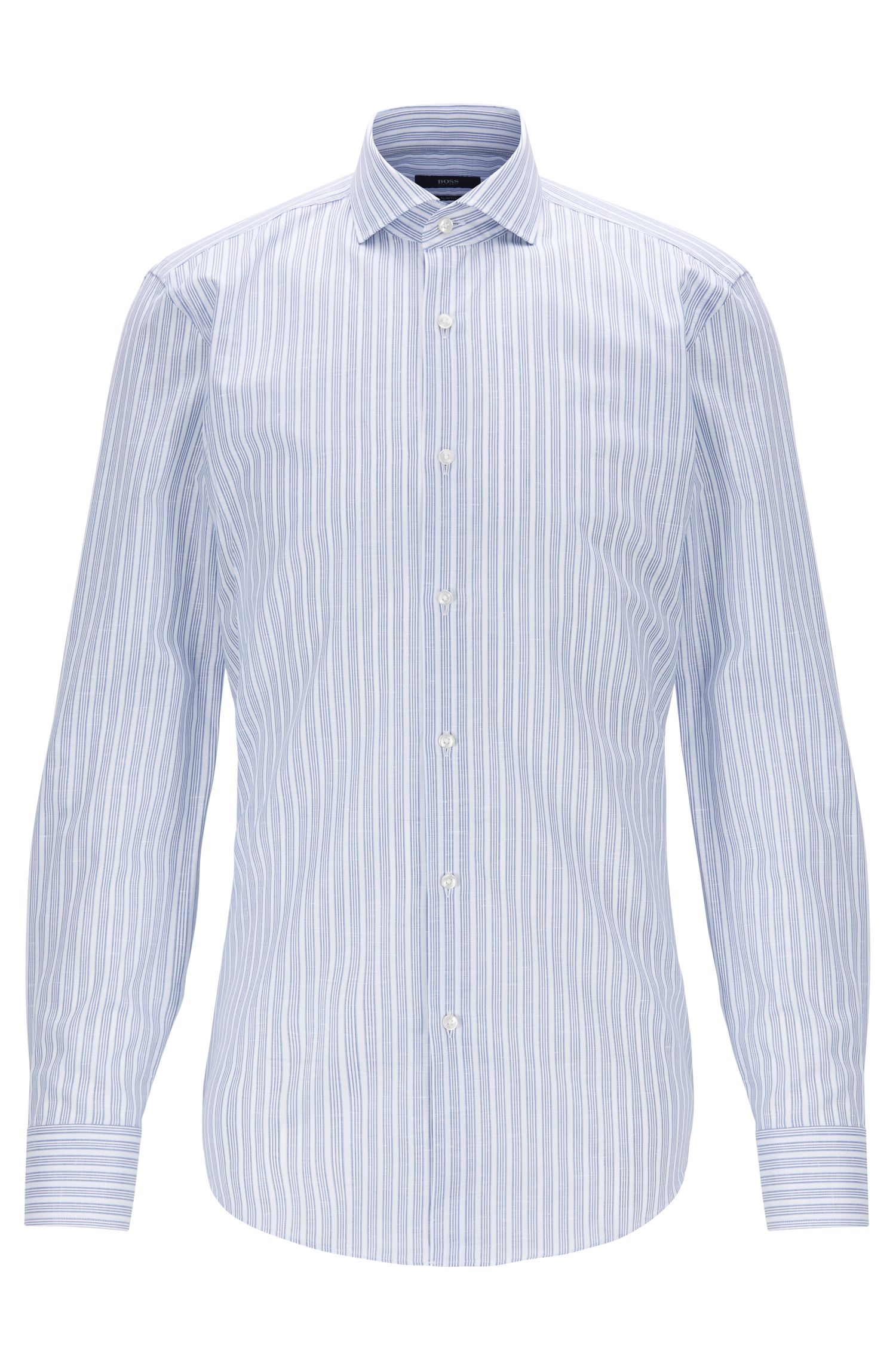 Striped slim-fit shirt in Italian cotton with linen, Open White
