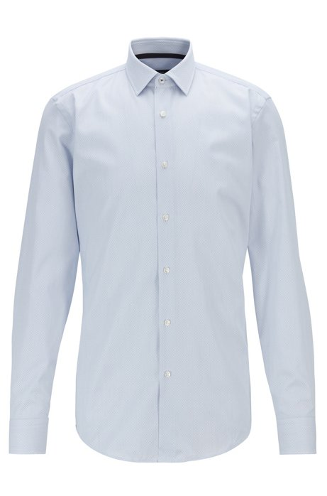 Slim-fit shirt in dobby cotton with inner contrasts, White