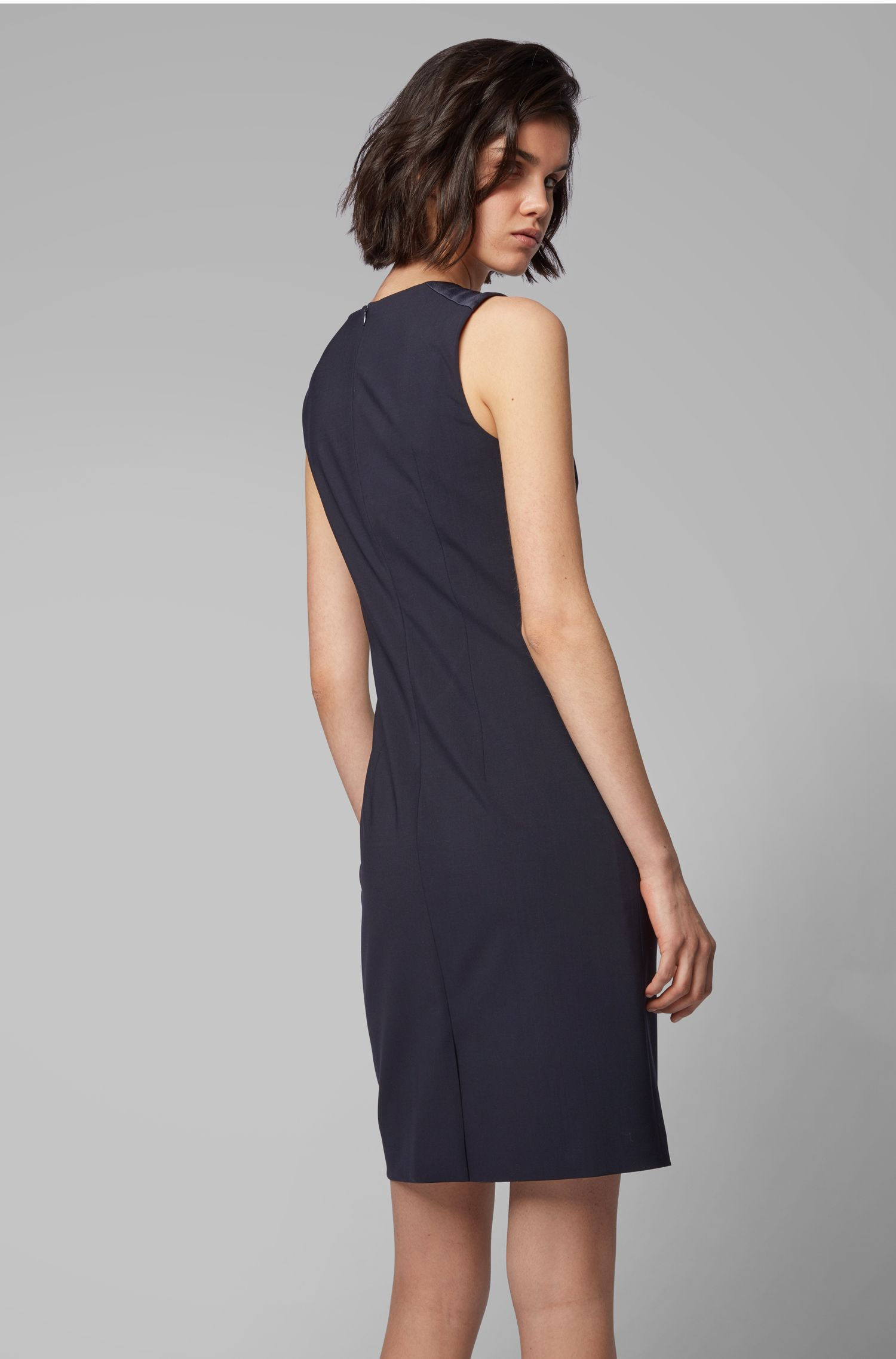 Shift dress in Italian stretch wool, Open Blue