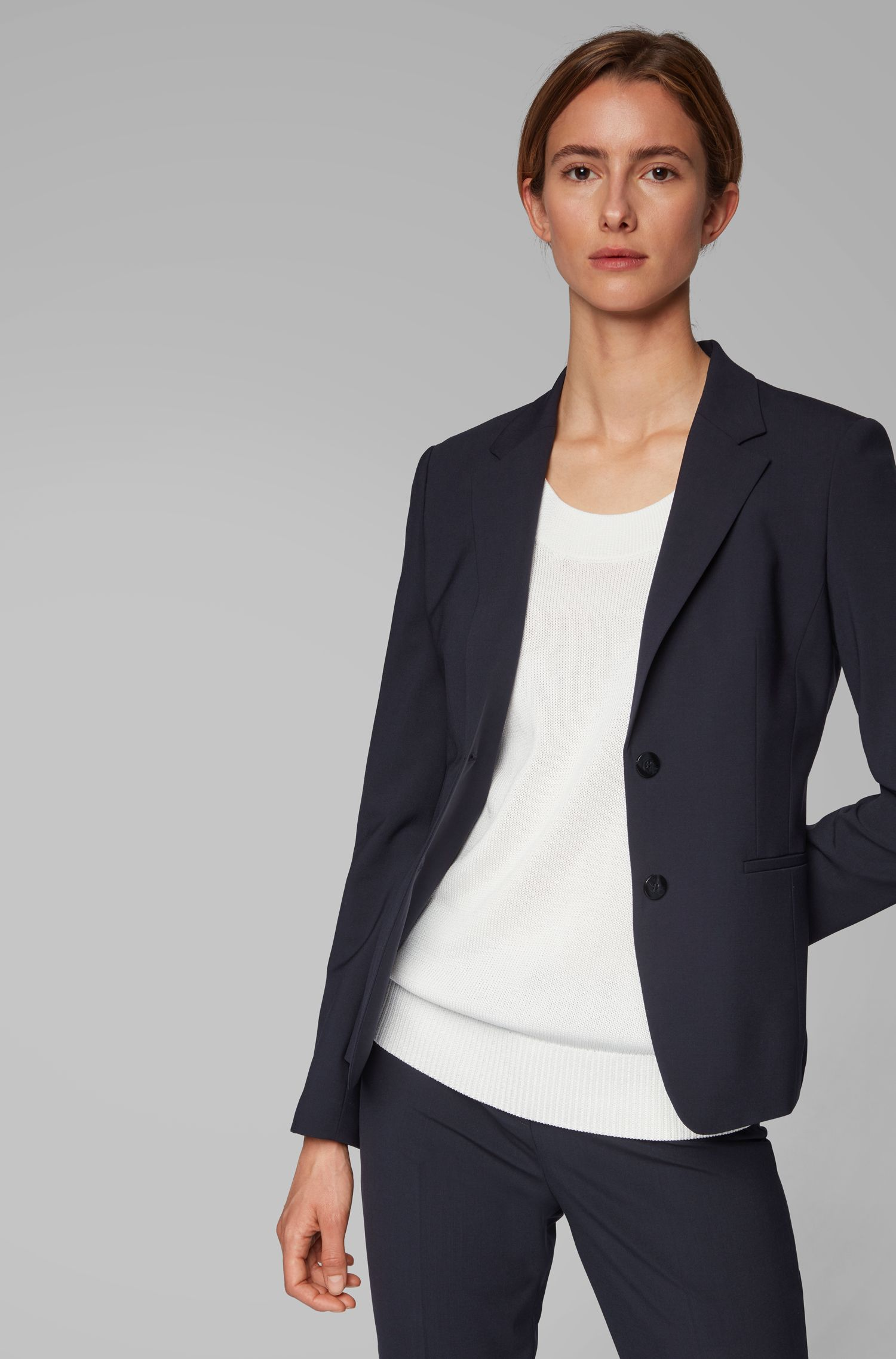 Regular-fit jacket in Italian stretch-virgin-wool, Open Blue