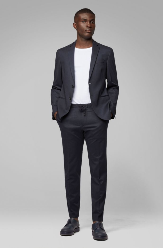 Slim-fit suit in checked stretch fabric