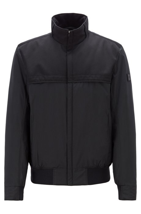 Water-repellent padded blouson jacket in mixed fabrics, Black