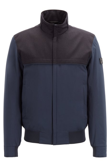 Water-repellent padded blouson jacket in mixed fabrics, Dark Blue