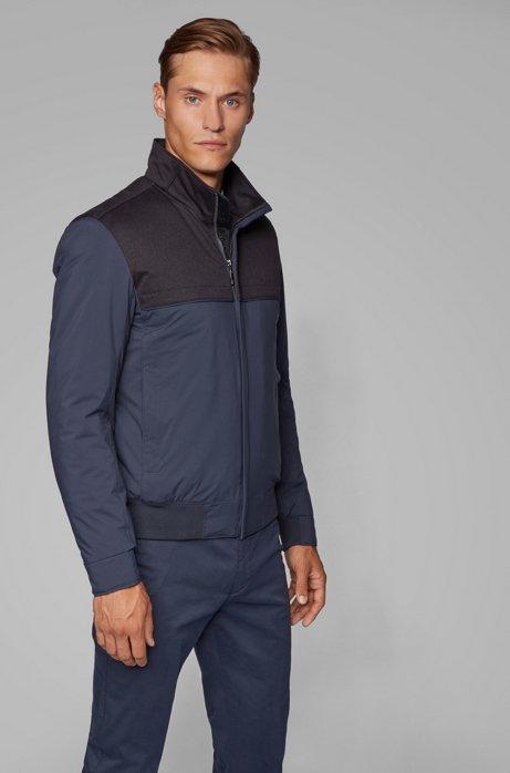 Water-repellent padded blouson jacket in mixed fabrics, Dark Blue